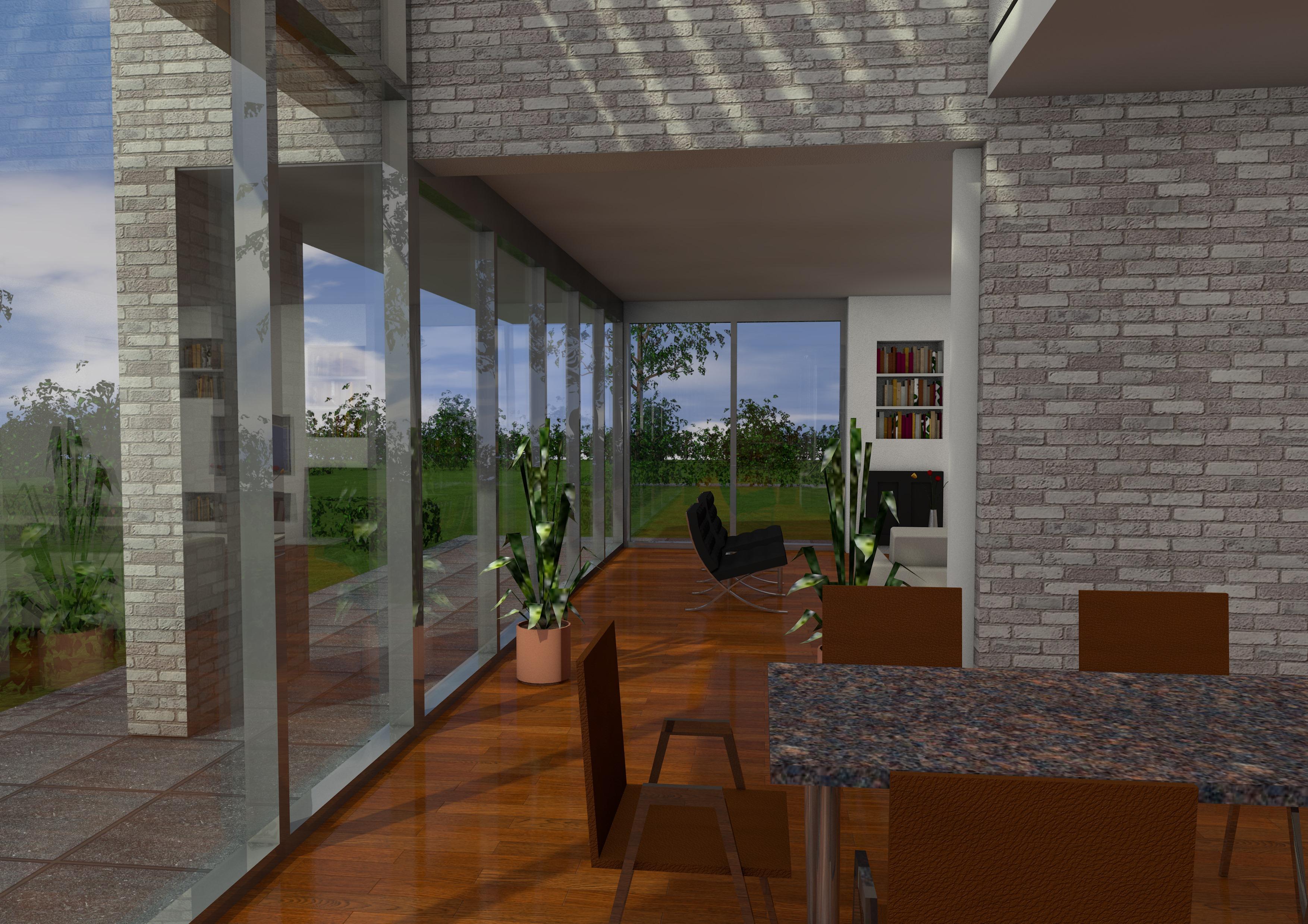 interieurview vanuit eetkamer naar woonkamer