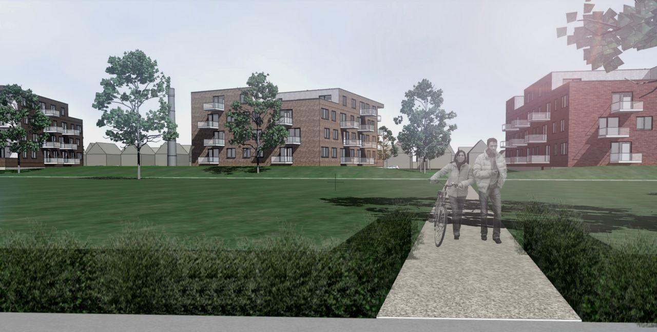 zicht op de gebouwen vanuit het park